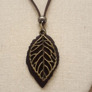 Jewelry - Double Tree Leaf Cord Necklace